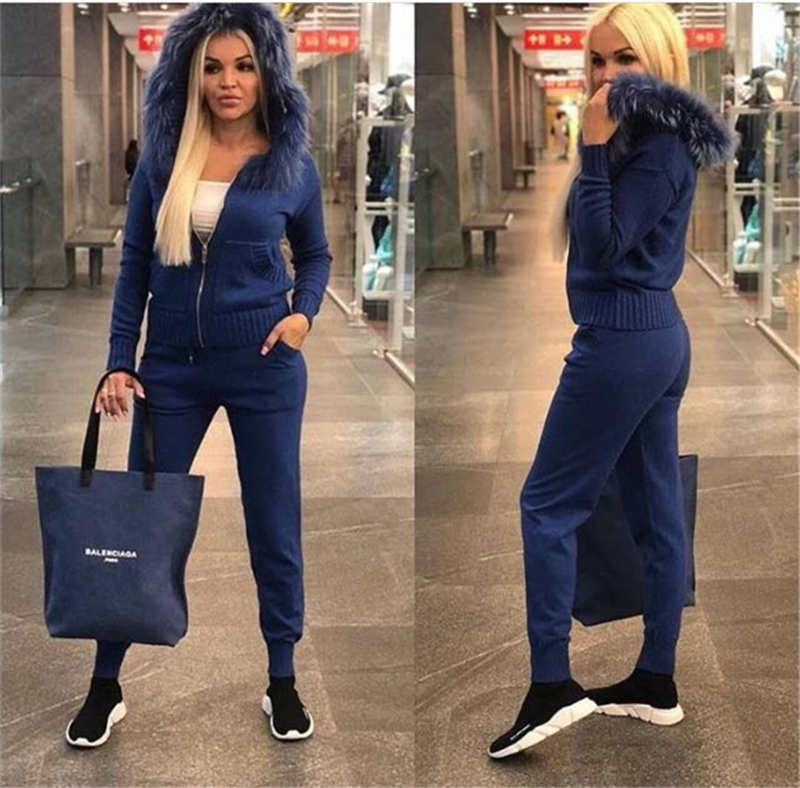 Knitted Tracksuit For Women Hooded Sweater Casual Knitted Suit Women 2 Piece Set Zipper Long Sleeve  Sporting Women's Suit