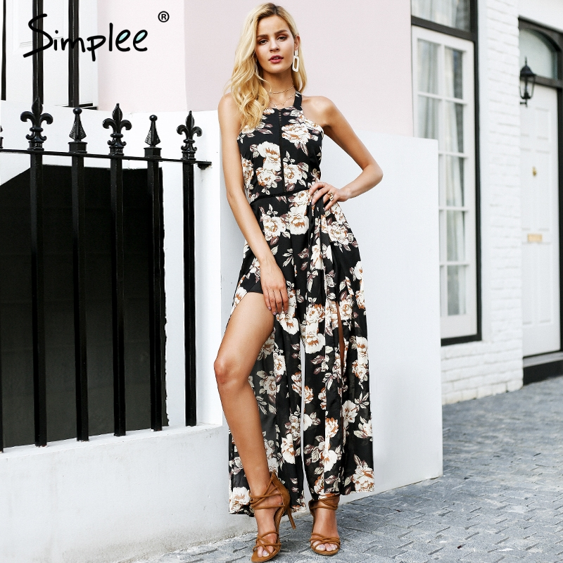 Simplee Halter sleeveless women   jumpsuit   long Floral print backless overalls romper female Summer 2018 casual playsuit macacao