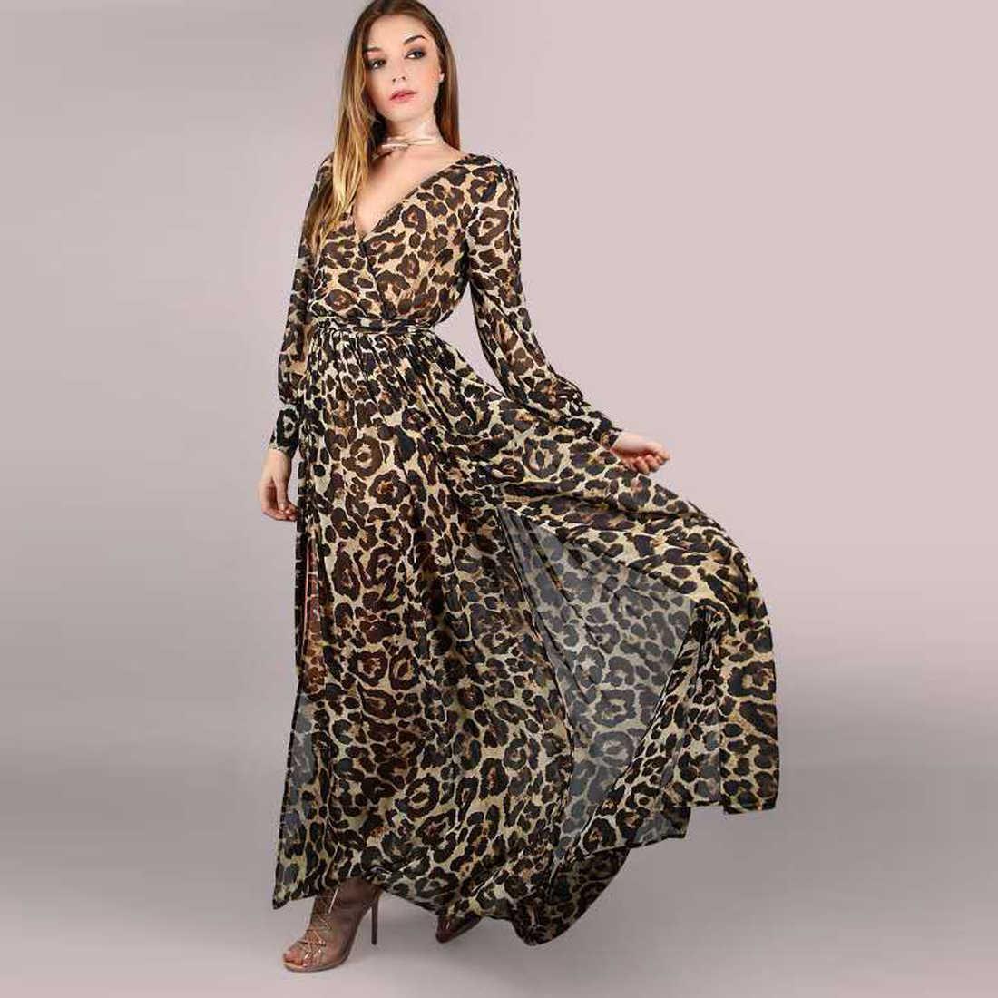 eba1fb8742bb ... New Fashion Autumn Sexy X-long Dresses Women Leopard Print Long Sleeve Maxi  Dress Sexy ...