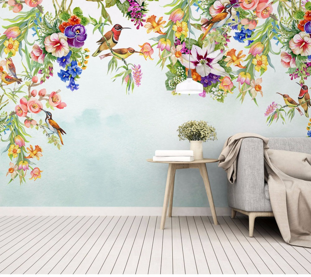 bird mural flowers painted bedroom living colourful flower wallpapers