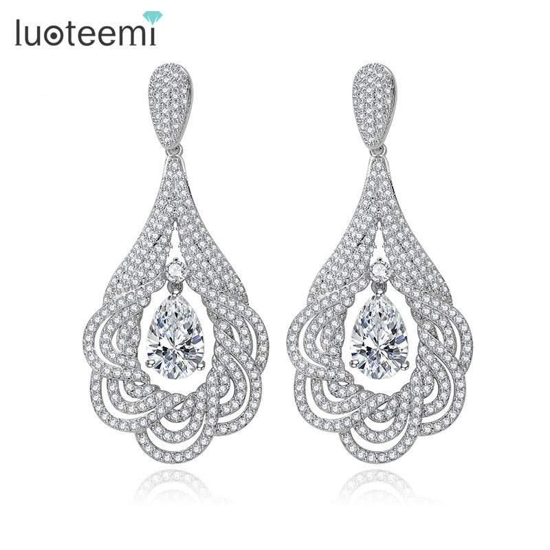 LUOTEEMI Women Luxury Tiny AAA Clear CZ Statement Drop Earrings For Bridal White Gold-Color Wedding Jewelry Gift Brincos