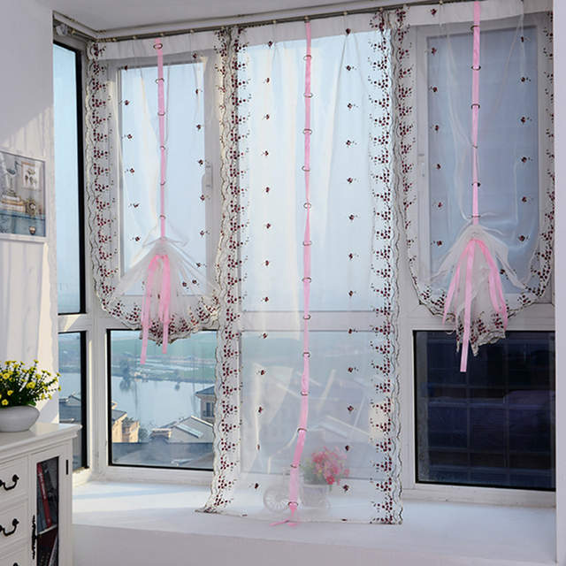 Placeholder 2018 Roman Curtains Top Sheer Kitchen Purple Pink Window Liftering Blinds Embroidered 1pc