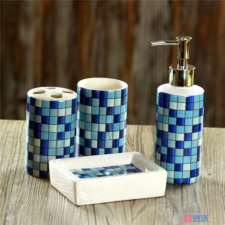4 Pcs Set Fashion Mosaics Ceramic Bathroom Accessories Set Sanitary Combination Wash Tool Hot Sale 2016
