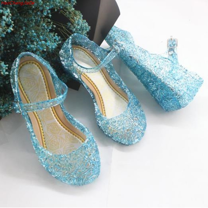 New Summer Elsa Little Lady Sweet Toddler Infant Kids Baby Girls Wedge Cosplay Party Single Princess Shoes Sandals Soft Flat