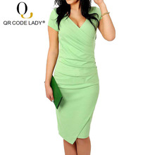 QR Summer Women Dress 2019 Fashion Candy Color Sexy V Neck Lady Office  Pencil Dress Female. 5 Colors Available f45843b2c764