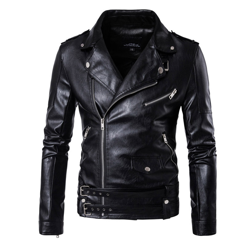 New Retro Vintage Faux Leather Motorcycle Jacket Men Turn Down Collar Moto Jacket Adjustable Waist Belt Jacket Coats Size M-5XL цены онлайн