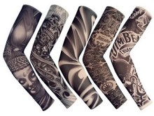 ping 5 PCS Mixed 92%Nylon Elastic Fake Temporary Tattoo Sleeve Designs Body Arm Stockings Tattoo For Cool Men Women