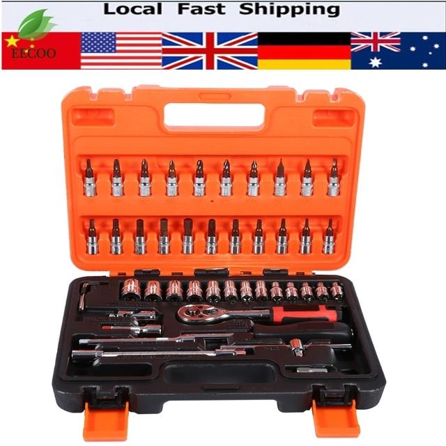 46pcs Socket Spanner Wrench Set 1/4-Inch Socket Set Car Repair Tool Ratchet Set Torque Wrench Combination Bit a set of keys