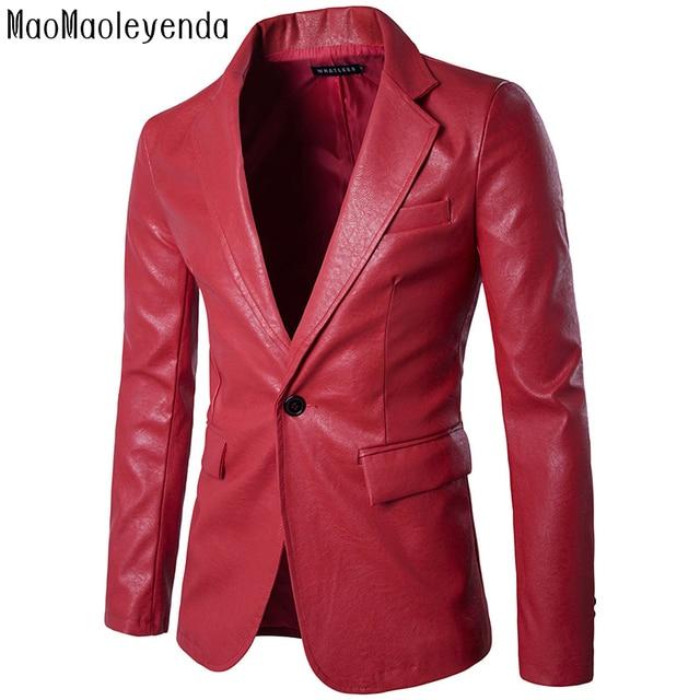 New spring uomini blazer one-button slim fit uomo nero giacca di pelle pu  manica 05da0370743