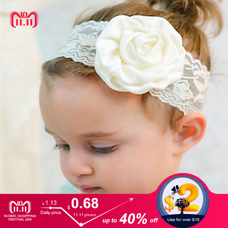 New baby Hair Accessories Candy Colors Girls Headband Rose Flower Girls Hair accessories Lovely Lace Floral Baby Headband high quality big rose flowers ribbon banana hair clips for women fashion hair flower barrette girls hair accessories 2 colors