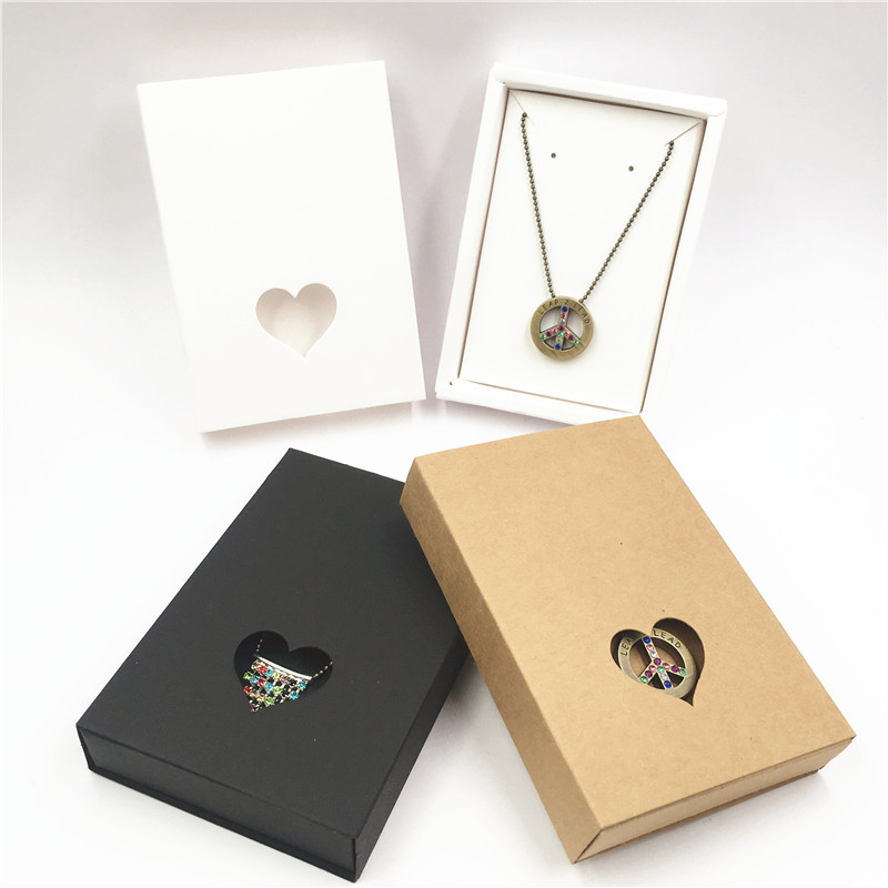 50pcs Drawer Style Paper Box+50pcs Inner Necklace&earring Cards,packing Girl Jewelry Carries Case Paper Set Series Carton
