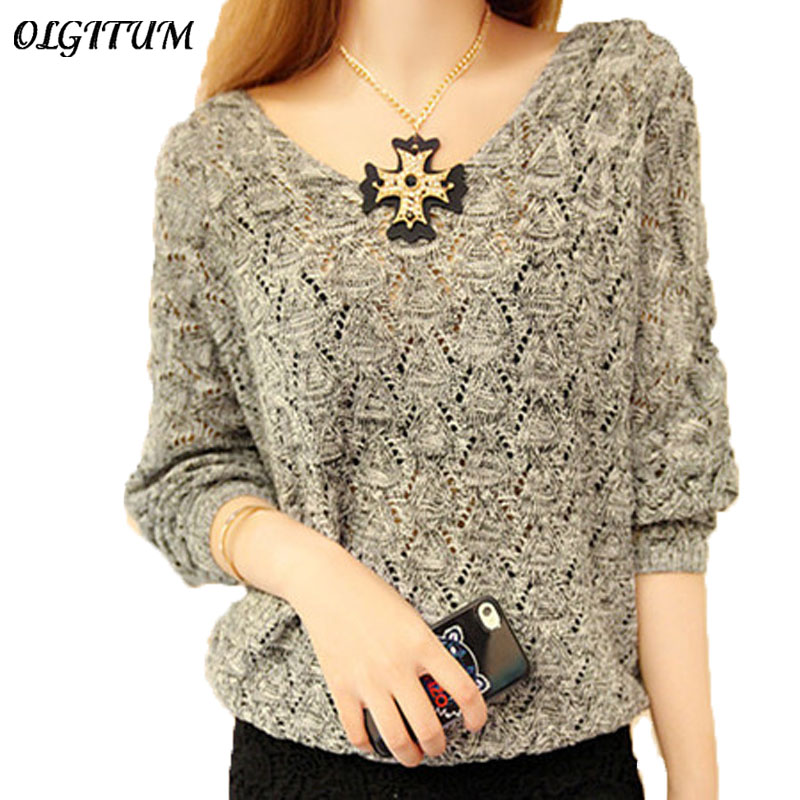OLGITUM 2019 Women Solid Color Sweater Women Tops Bat Sleeve Pullover  Loose Knite V-neck Sweater Outwear