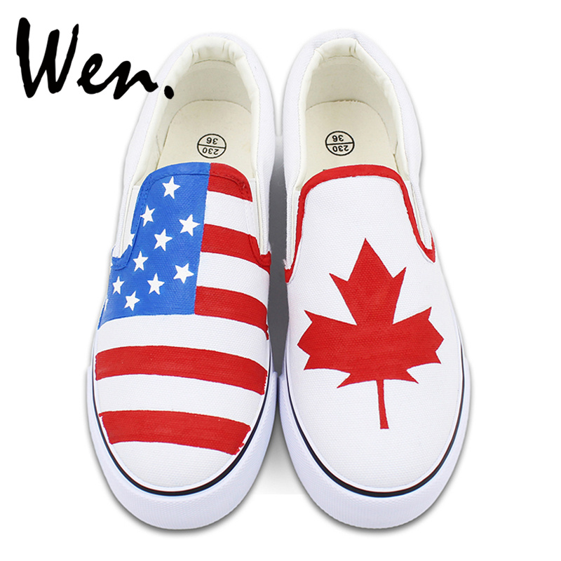 Wen Hand Painted White Slip On Shoes Custom Design American Flag Canada Flag Maple Leaf Man Woman' Canvas Sneakers Plimsolls elonbo y1h8 women s elastic sleeveless american flag style digital painting jumpsuit white red