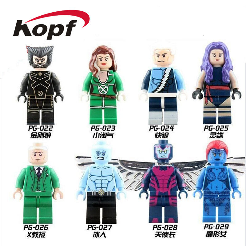 Single Sale Building Block Super Heroes X-Man Wolverine Quick Silver Rogue Professor X Psylocke Iceman Figures Kids Toys PG8006(China)