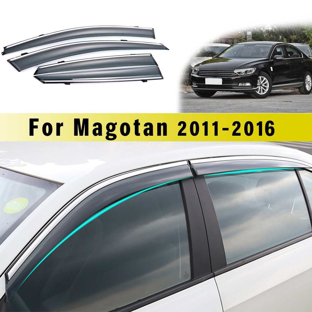 4pcs Car Smoke Window Sun Rain Visor Deflector Guard For Volkswagen VW Magotan B7 2011-2016 Accessories 4PC