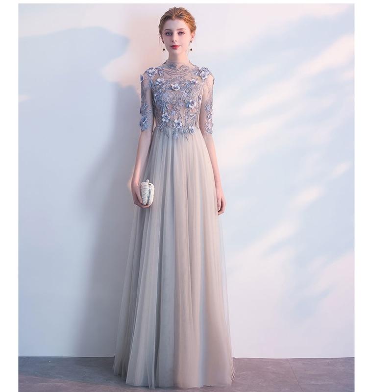 Doparty XS3 Formal Half Sleeves Sliver Floor Length Mother Of the Bride   Dresses   Elegant Long Party   Evening     Dresses   for Women