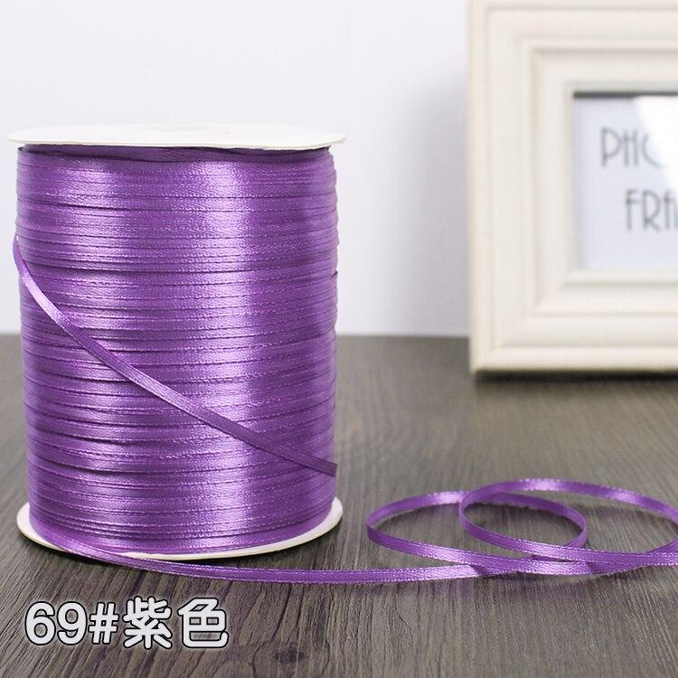 3 мм атласная лента 22 м/лот DIY ручной работы, товары для рукоделия, свадебные, для дня рождения, подарочная упаковка, белые, розовые, бежевые, кремовые ленты - Цвет: Фиолетовый