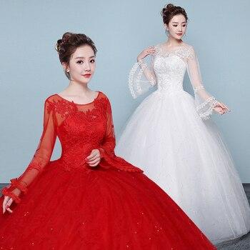Vestido De Novia Cheap Long Sleeve Lace Ball Gown Wedding Dress 2019 Trouwjurk Vestido De Novias Wedding gowns Robe De Mariage