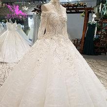 5d7b1bc70 AIJINGYU الزفاف اللباس كندا الأبيض الفاخرة 2019 طويل كم كوتور أثواب فساتين  زفاف دانتيل الكرة ثوب