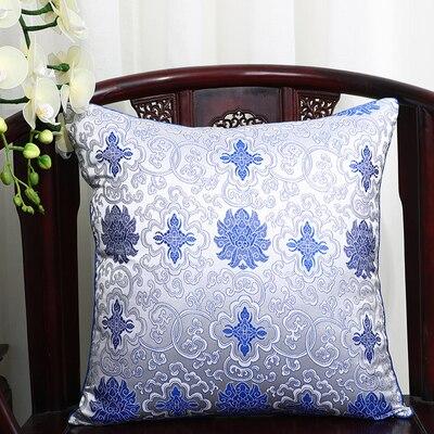 Чехол для подушки для автомобильного стула с цветами 40x40 см 45x45 см 50*50 60*60 китайские красочные диванные Декоративные Чехлы для подушек, шелковая атласная наволочка - Цвет: Белый