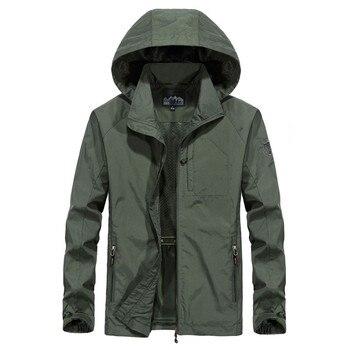 Men's Spring Autumn Thin Casual Jacket Waterproof Breathable Hooded Windbreaker Overcoat Outdoor SportsTactics Jackets Outerwear