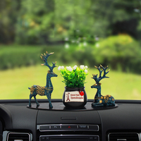 New Christmas Car Interior Ornaments Deer Plants Cartoon Fixed Safeguards Car Accessory Auto Decor Set