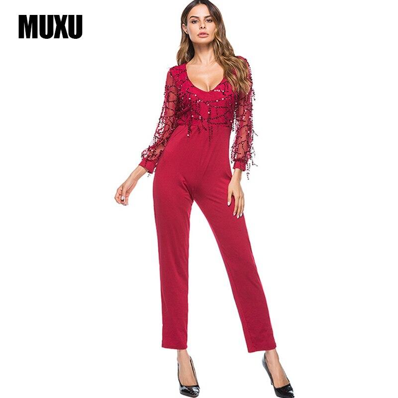 MUXU Мода Осень sexy лоскутное черный комбинезон один кусок комбинезон Длинные рукава сетки клуб женщин блеск длинный комбинезон