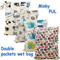 1 UNID Reutilizable Impermeable Minky Impreso PUL Pañal Mojado Bolsa Bolsillos Dobles, diseño con cremallera nappy bolsa con cierre de botón mango