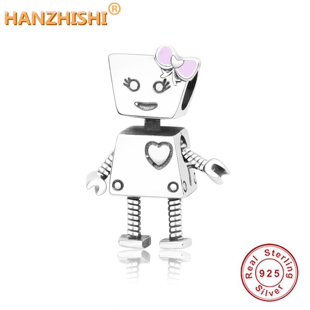 38377d394 Detail Feedback Questions about 2018 Fashion New 100% 925 Sterling Silver  Cute Robot Charms Fits Original Pandora Charms Bracelet DIY Jewelry Making  for ...