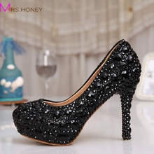 Black Rhinestone Crystal Bridal font b Shoes b font Women Evening font b Party b font