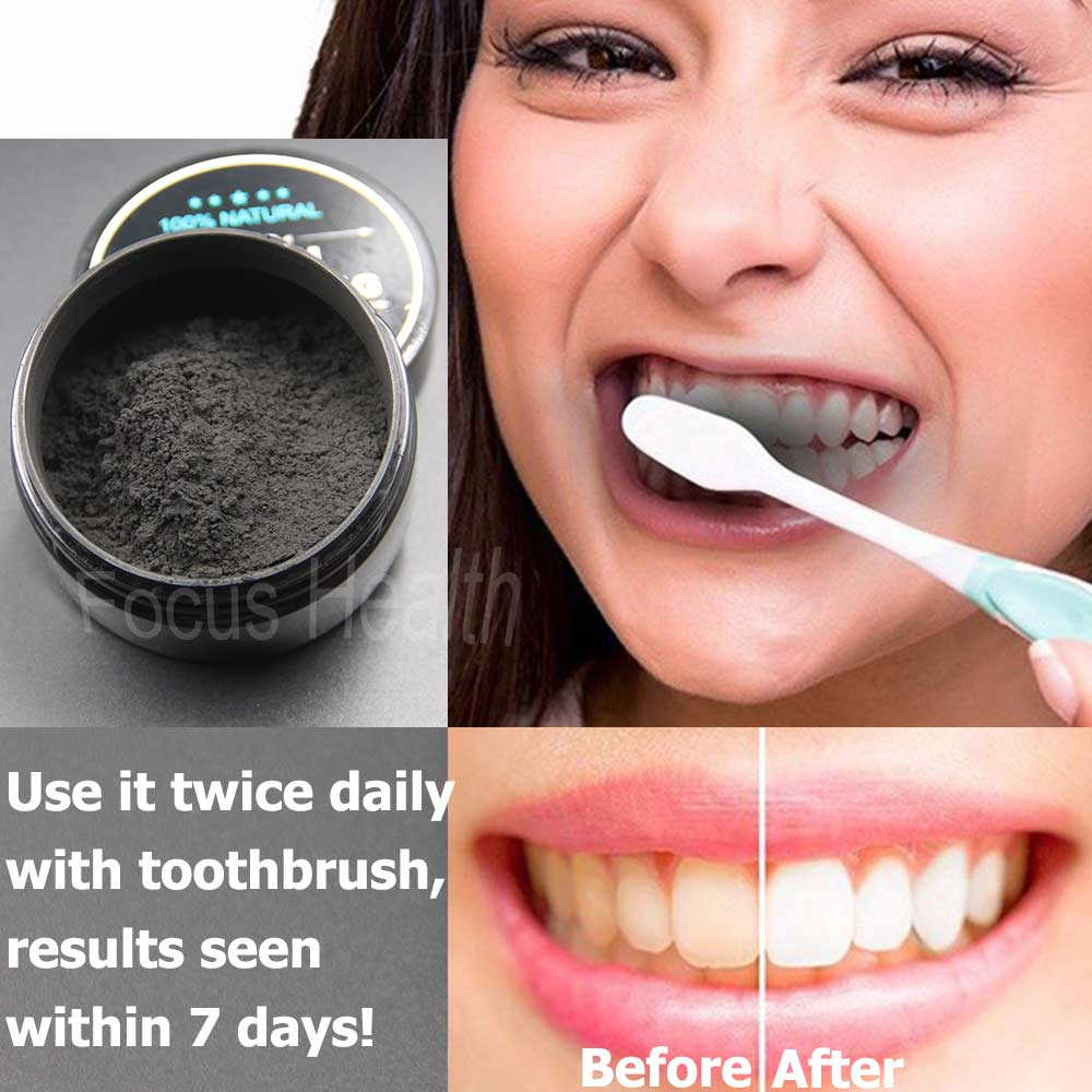 Teeth Whitening Cleaning Activated Charcoal Powder Natural Safe Tooth Whitener Bright White Teeth Oral Hygiene Dental Care How To Use
