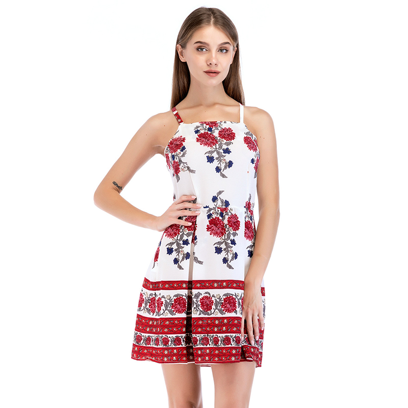 2018 Summer Women Floral Printed Mini Dress Fashion Sexy Women Back Open Off Shoulder Sleeveless Short Dress Female Beach Cloths