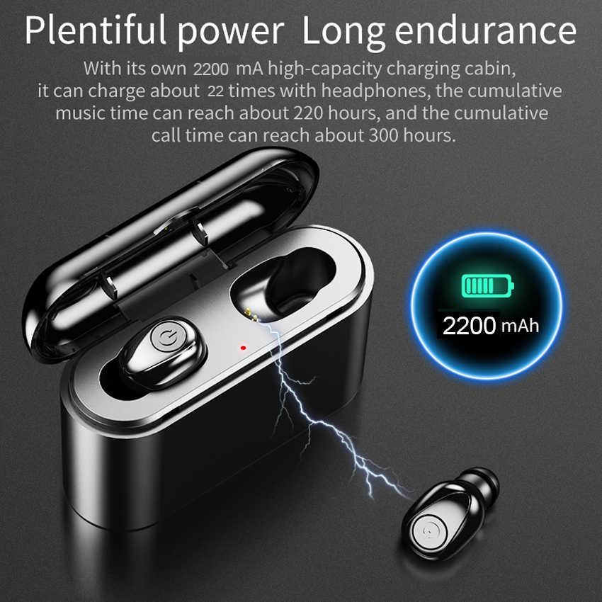 X8 TWS Bluetooth prawdziwe bezprzewodowe słuchawki 5D słuchawki stereo Mini TWS wodoodporne słuchawki 2200mAh Power Bank dla smartfonów