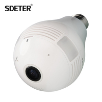 SDETER 960P Lamp Camera Bulb Light Wireless Security IP Camera Panoramic FishEye Mini WIFI Camera CCTV