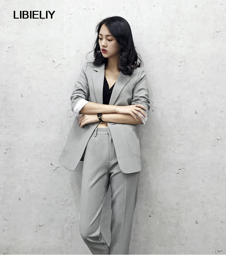 fashion fall pant suits women smart casual office business