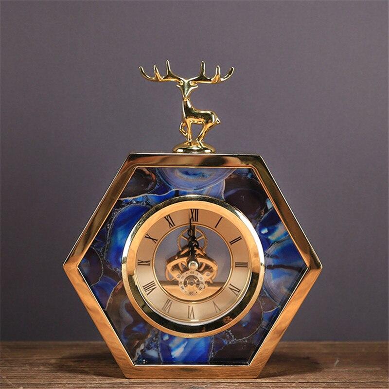 Creative Métal Alliage Horloge avec des Cerfs Salon Meuble TÉLÉ Décoration De Bureau Creative Horloge De Bureau Ornements Cerf Horloge Meilleur Cadeau