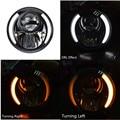 "7"" H6024/6014 Amber LED Angel Eye Ring Halo Headlight Blinker Turn Signal Light 7inch Round Projectory Headlamp"