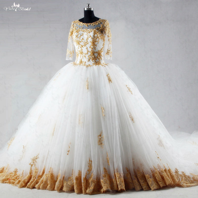 Popular white gold wedding dresses buy cheap white gold for White and gold wedding dresses