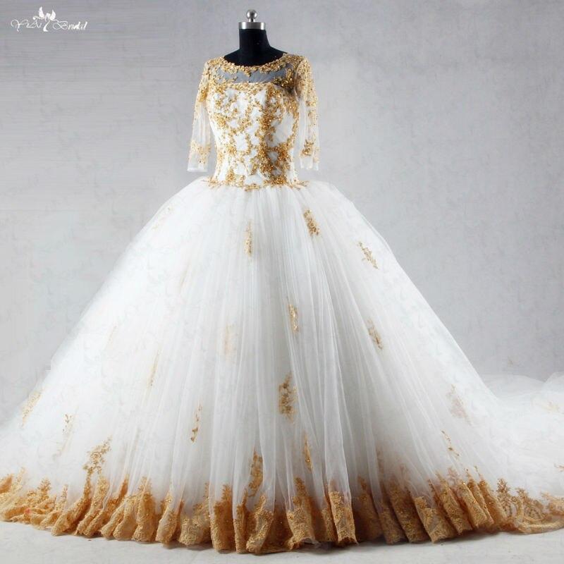 RSW1035 Três-quartos Mangas Cauda Longa Vestidos De Casamento Vestidos de Baile Branco E Dourado