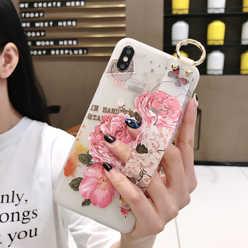 Image 5 - Flower Pattern Soft Silicone Wrist Strap Phone Holder Case For iphone X Xs max XR  6 6S plus  Case Cover Coque For iPhone 7 8-in Fitted Cases from Cellphones & Telecommunications