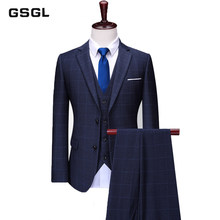 3 Piece Wedding Business Skinny Fit Suits Mens Check Suit Jacket In Navy Blue Two Button Notch Lapel Plaid Tuxedo Dress Suit(China)