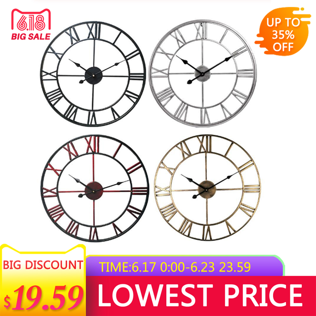 Creative Modern Loft Cafe Iron Pendant Clock Silent Retro 16 Inch Diameter Metal Roman Numerals Big Wall Clock Room Home Decor