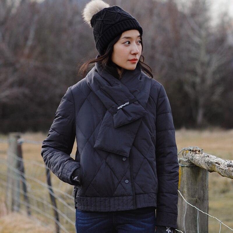 INMAN Autunno Inverno Nuovo 80% Piume D'anatra Bianca Imbottiture Donne Giacca Collo a Scialle Cappotto a prova di Freddo