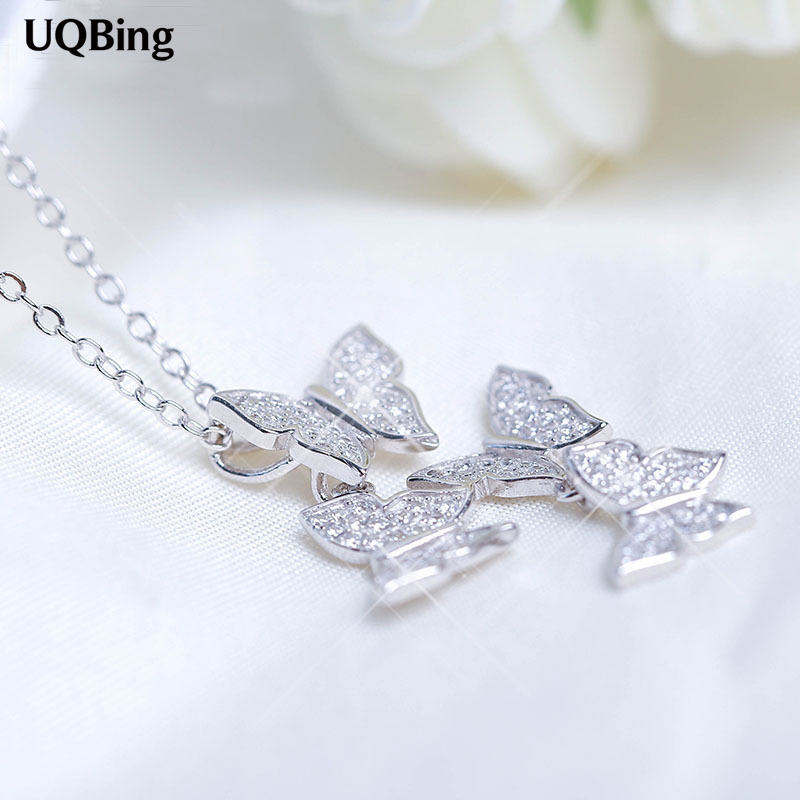 New Arrivals 2015 Fashion 925 Sterling Silver Necklaces Silver Crystal Butterfly Necklaces For Women Jewelry Collar Colar