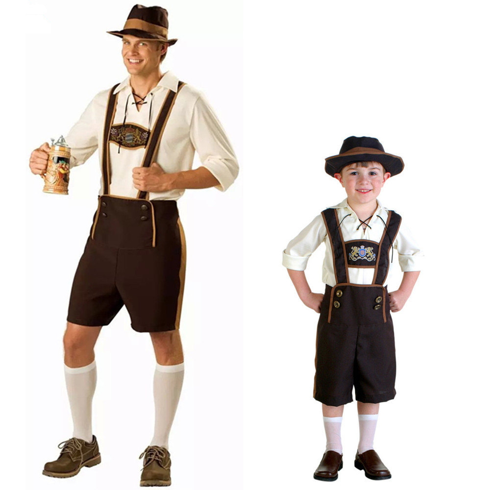 parent child oktoberfest suspenders father and son man and kids halloween masquerade cosplay. Black Bedroom Furniture Sets. Home Design Ideas