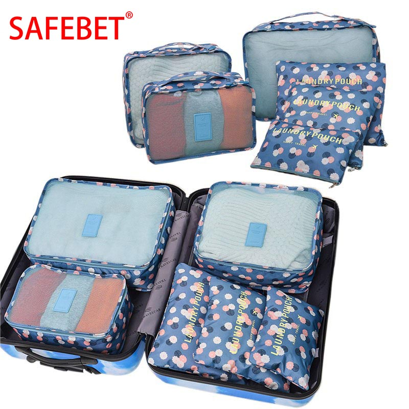 SAFEBET Brand 6PCS Travel Accessories Oxford Cloth Travel Mesh Bag Luggage Organizer Folding Packing Cube Travel Accessories ...