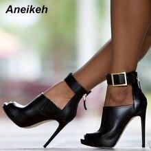 Aneikeh 2018 NEW Women Pumps Burst Metal Buckle High-heel Fish Mouth Cool Boots Spring Summer High H