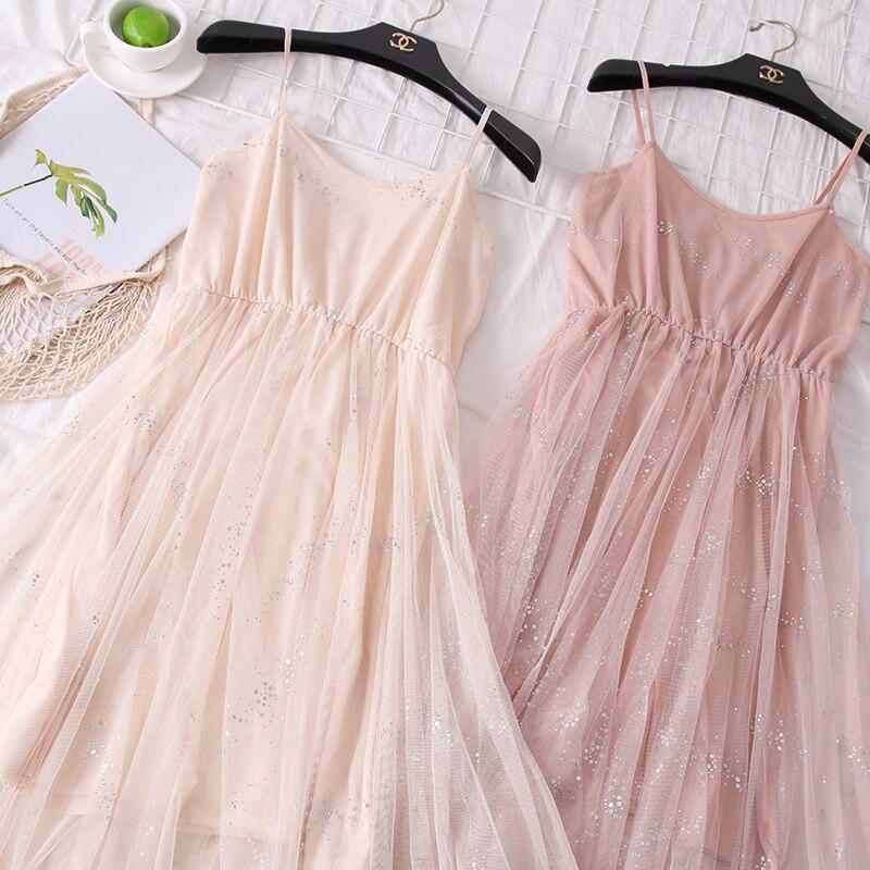Sweet Bling Shinny Basic Mesh Dress 2019 Spring Summer New Korean Women's Dresses Elegant Irregular Dress for Women Female 5