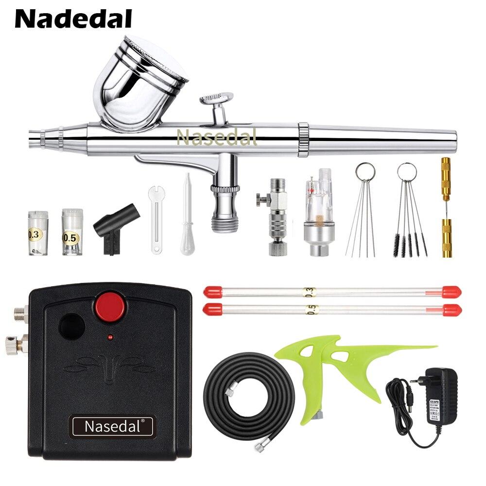Nasedal Dual-Action Spuitpistool Mini Airbrush Compressor Kit Air Brush Voor Nail Art Cake Decoratie Make Tattoo Model auto Verf