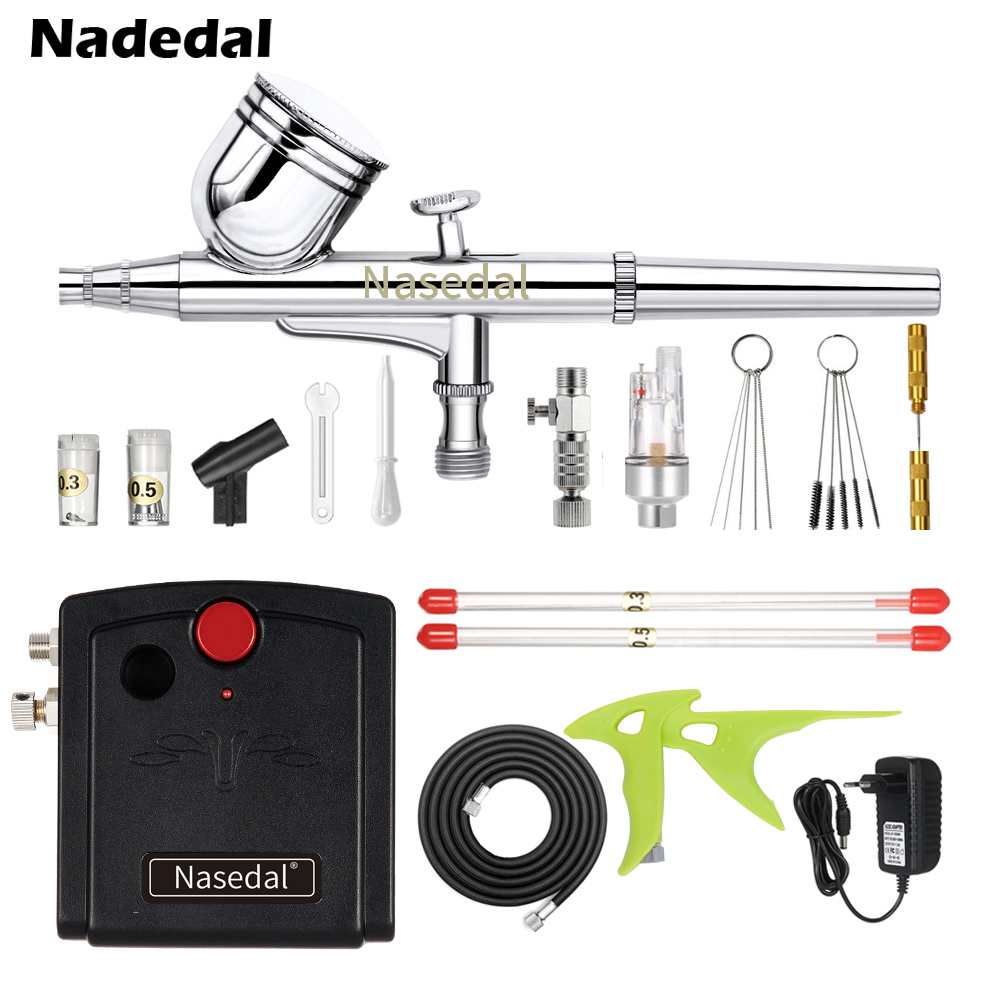 Nasedal Dual Action Spray Gun Mini Airbrush Compressor Kit Air brush for Nail Art Cake Decoration Makeup Tattoo Model Car Paint
